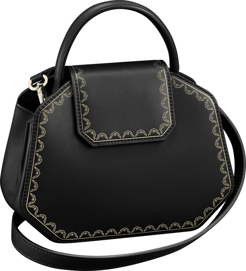 Guirlande de Cartier bag, mini modelBlack calfskin, golden finish