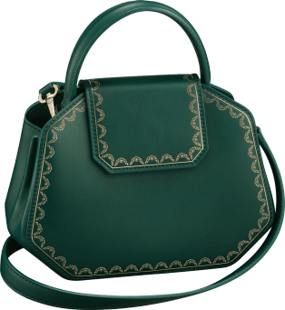 Top Handle Bag, Mini, Guirlande de Cartier Green calfskin, golden finish