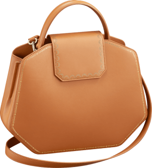 Top Handle Bag, Small, Guirlande de Cartier Camel-colored calfskin, golden finish