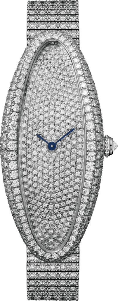 Baignoire Allongée watchMedium model, rhodiumized 18K white gold, diamonds