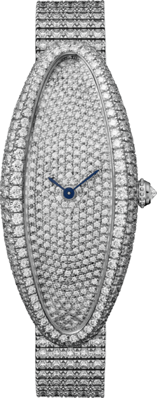 Baignoire Allongée watch Medium model, rhodiumized 18K white gold, diamonds