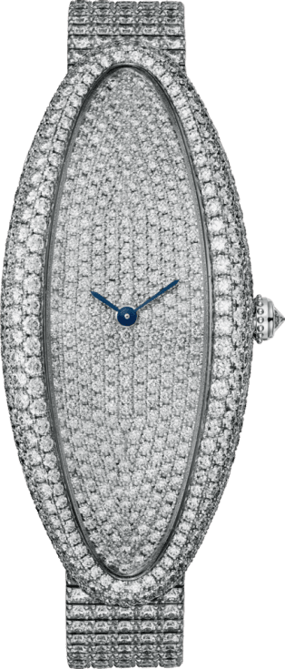 Baignoire Allongée watch Extra large, rhodiumized white gold, diamonds