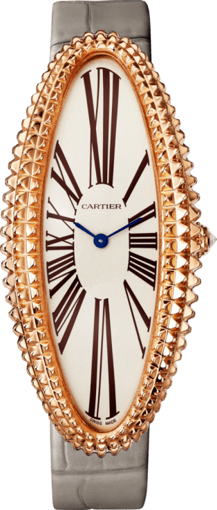 Baignoire Allongée watch Extra-large model, hand-wound mechanical movement, rose gold