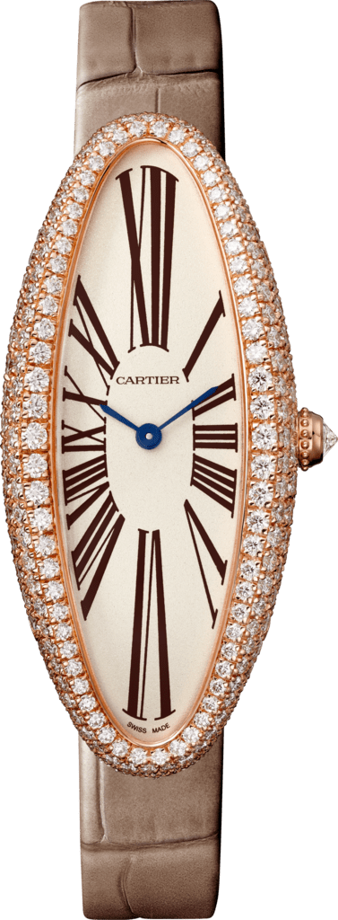 Baignoire Allongée watchMedium model, hand-wound mechanical movement, rose gold, diamonds