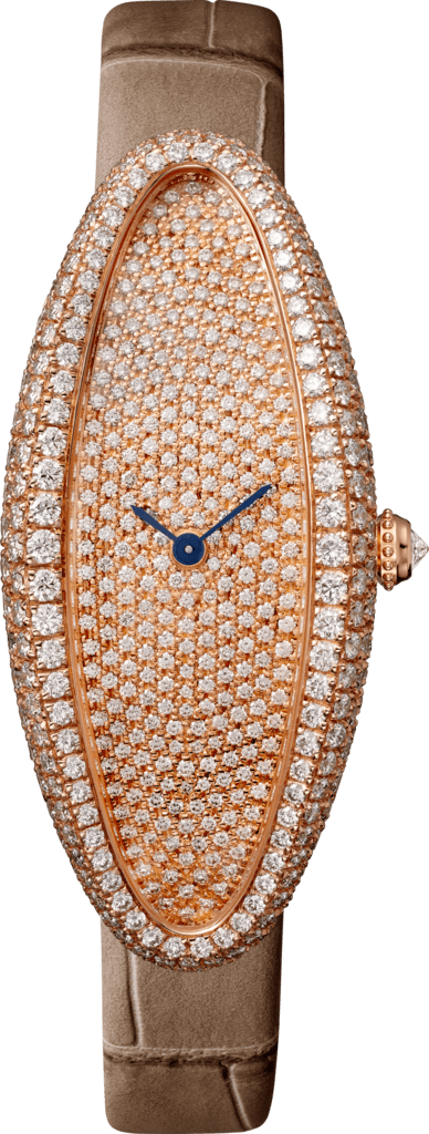 Baignoire Allongée watchMedium model, 18K pink gold, diamonds