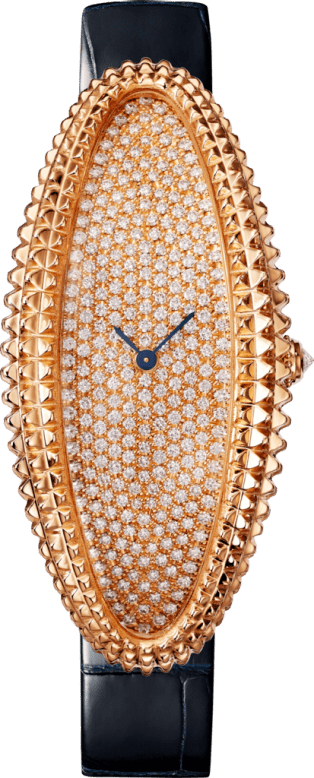 Baignoire Allongée watch Extra-large model, hand-wound mechanical movement, rose gold, diamonds