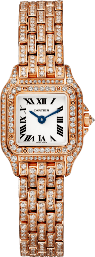 Panthère de Cartier watch Mini, 18K pink gold, diamonds