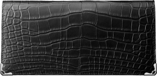 Must de Cartier Small Leather Goods, zipped international wallet Black alligator skin, stainless steel finish