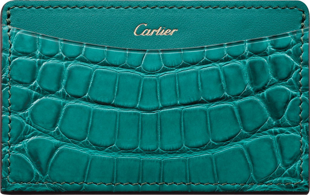 C de Cartier Small Leather Goods, card holderBlue-green tourmaline-colored alligator skin and calfskin, golden finish