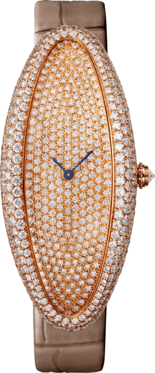 Baignoire Allongée watch Extra large, pink gold, diamonds