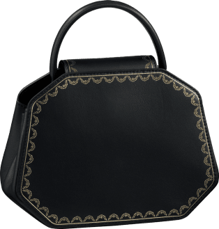 Guirlande de Cartier bag, mini model Black calfskin, golden finish