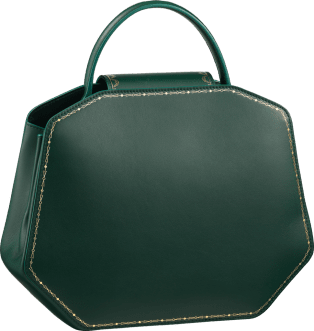 Top Handle Bag, Small, Guirlande de Cartier Green calfskin, golden finish