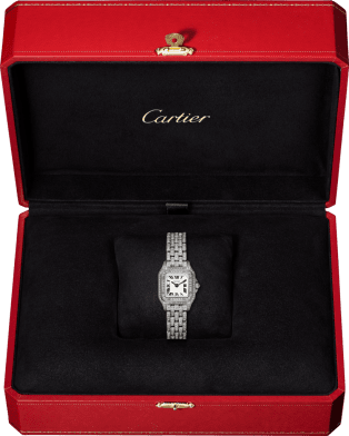 Panthère de Cartier watch Mini model, quartz movement, white gold, diamonds