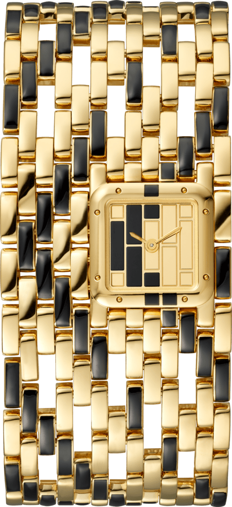 Panthère de Cartier watchCuff, yellow gold and black lacquer