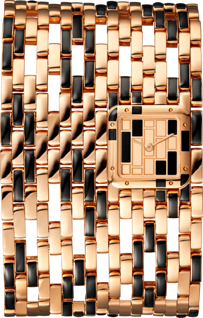 Panthère de Cartier watchCuff, extra large, pink gold and black lacquer