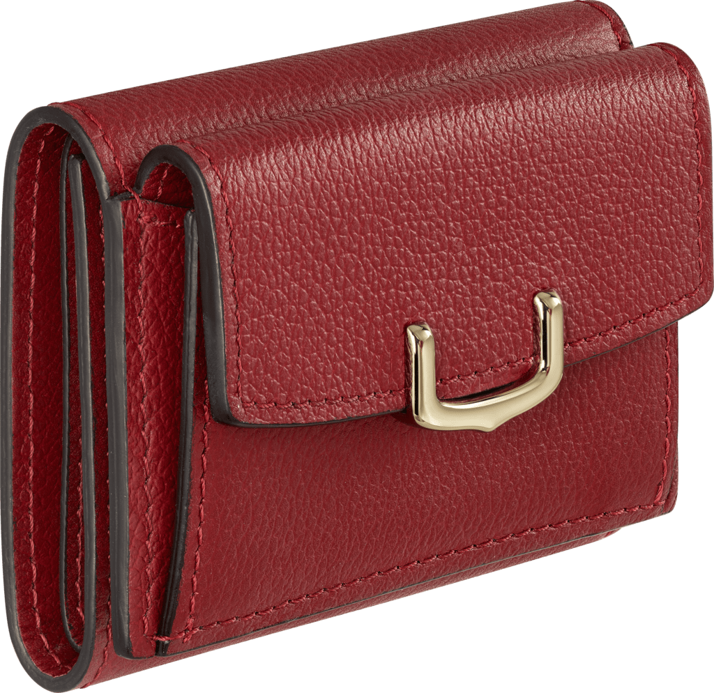 C de Cartier Small Leather Goods, walletRed spinel taurillon leather, golden finish