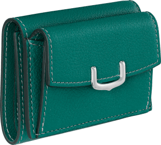 C de Cartier Small Leather Goods, wallet Blue-green tourmaline taurillon leather, palladium finish