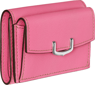 C de Cartier Small Leather Goods, wallet Pink sapphire taurillon leather, palladium finish