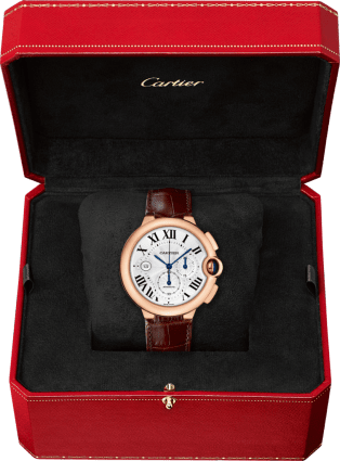 Ballon Bleu de Cartier watch XL, pink gold, leather