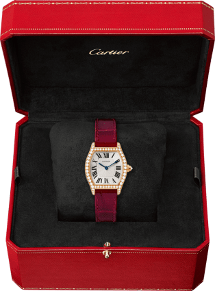 Tortue watch Small model, 18K pink gold, leather, diamonds