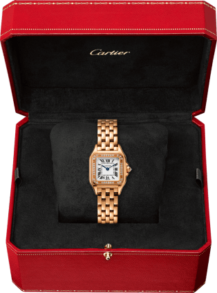 Panthère de Cartier watch Small model, pink gold, diamonds