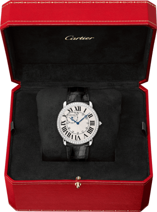 Ronde Louis Cartier watch 42mm, hand-wound mechanical movement, white gold, diamonds, leather