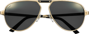 Santos de Cartier sunglasses Brushed champagne golden-finish metal, gray polarized lenses with golden flash