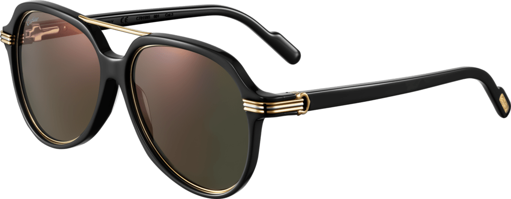 Première de Cartier sunglassesBlack composite, smooth platinum and smooth champagne golden-finish metal, gray lenses with golden flash