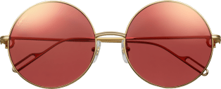 Première de Cartier sunglasses Tortoiseshell composite, smooth champagne golden-finish metal, green polarized lenses