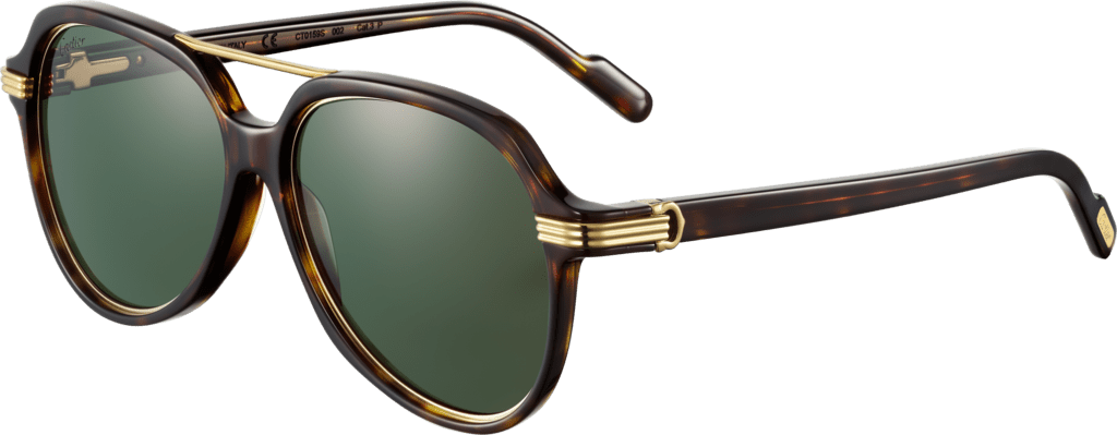 Première de Cartier sunglassesTortoiseshell composite, smooth champagne golden-finish metal, green polarized lenses