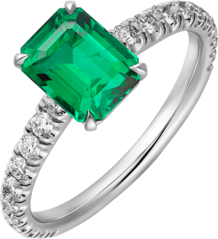 1895 solitaire ring Platinum, emerald, diamonds