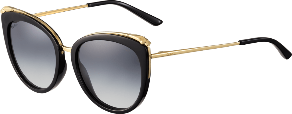 Panthère de Cartier sunglassesCombined black composite and champagne golden-finish metal, graduated gray lenses
