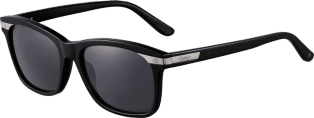 Santos de Cartier sunglasses Black composite and brushed platinum-finish metal, gray lenses
