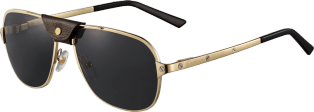 Santos de Cartier sunglasses Smooth champagne golden-finish metal, gray polarized lenses with golden flash