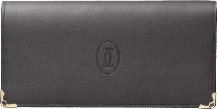 Must de Cartier Small Leather Goods, zipped international wallet Dark gray calfskin, golden finish