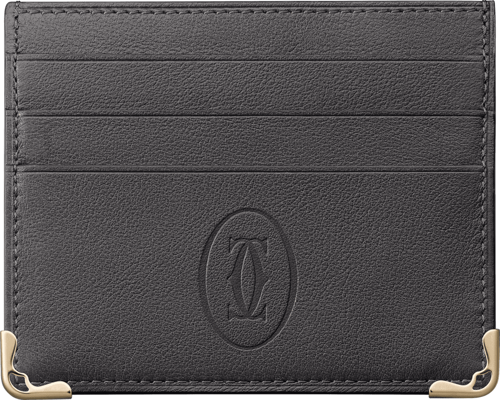Must de Cartier 6-credit card holderDark gray calfskin, golden finish