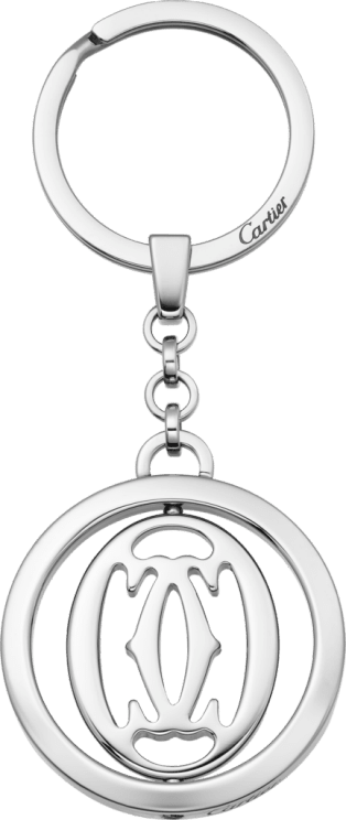 Pivoting double C décor key ring Stainless steel