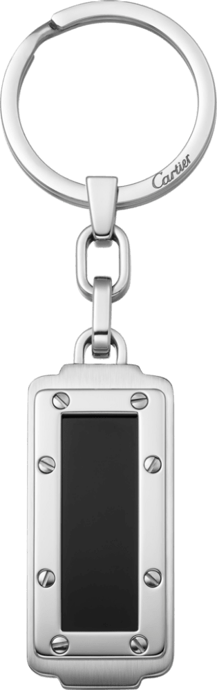 Santos de Cartier key ring Stainless steel and black lacquer