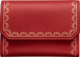 Wallet, Small, Guirlande de Cartier Red calfskin, golden finish