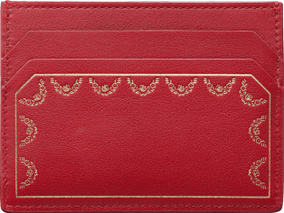 Simple Card Holder, Guirlande de Cartier Red calfskin, golden finish