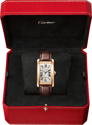 Tank Américaine watch Large model, 18K pink gold, leather, sapphire