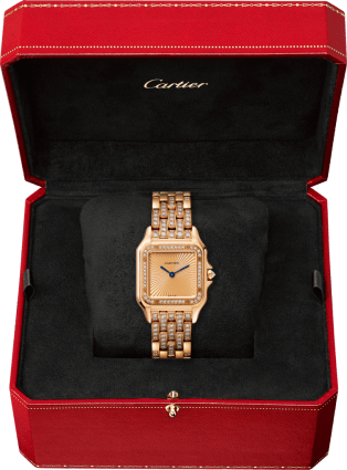 Panthère de Cartier watch Medium model, pink gold, diamonds