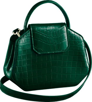 Guirlande de Cartier bag, mini model Green niloticus crocodile skin, golden-finish
