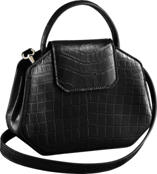 Guirlande de Cartier bag, mini model Black niloticus crocodile skin, gold finish