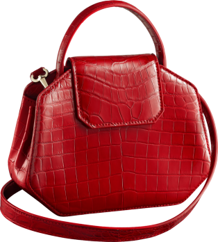 Guirlande de Cartier bag, mini model Red niloticus crocodile skin, gold finish