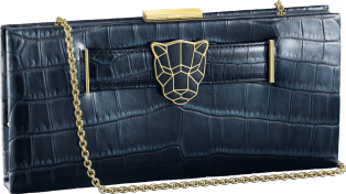 Panthère de Cartier clutch bag Iridescent blue crocodile leather, gold finish
