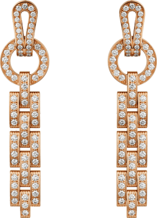Agrafe earrings Pink gold, diamonds