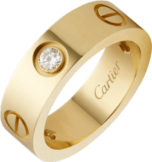Love ring, 3 diamonds Yellow gold, diamonds