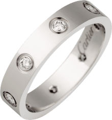 Love wedding band, 8 diamonds White gold, diamonds
