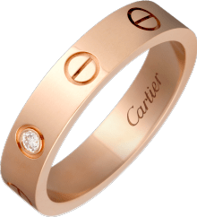 Love wedding band, 1 diamond Pink gold, diamond